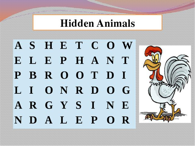 Hidden Animals A S H E T C O W E L E P H A N T P B R O O T D I L I O N R D O...