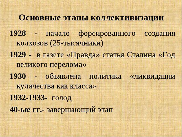 Основные этапы коллективизации 1928 - начало форсированного создания колхозов...