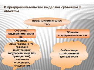 В предпринимательстве выделяют субъекты и объекты предпринимательство Субъект