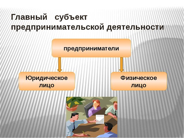 Главный субъект предпринимательской деятельности предприниматели Юридическое...