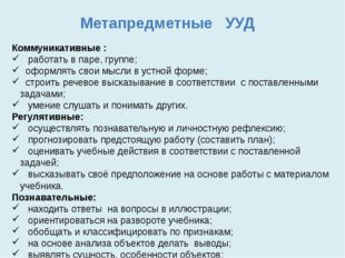 Метапредметные УУД Коммуникативные : работать в паре, группе; оформлять свои