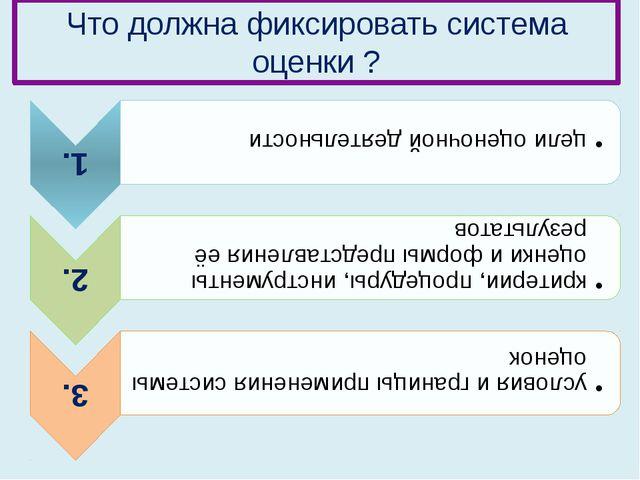 Что должна фиксировать cистема оценки ?