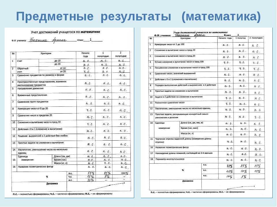Предметные результаты (математика)