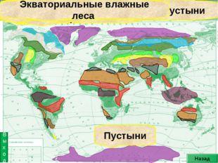 Лесостепь Саванна Степь Тропические пустыни Субтропические пустыни Пустыни ум