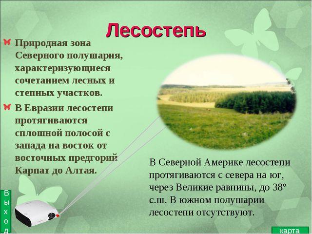 Лесостепь Природная зона Северного полушария, характеризующиеся сочетанием ле...