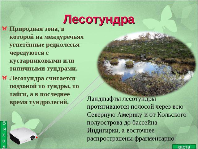 Лесотундра Природная зона, в которой на междуречьях угнетённые редколесья чер...