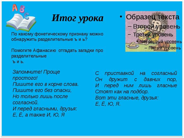 Итог урока По какому фонетическому признаку можно обнаружить разделительные ъ...
