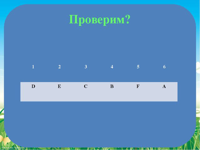 Проверим? 1 2 3 4 5 6 D E C B F A FokinaLida.75@mail.ru