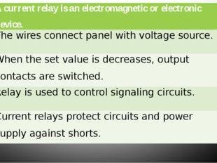 1. A current relay is an electromagnetic or electronic device. x 2. The wire
