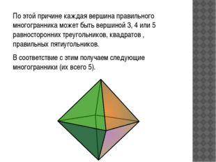 По этой причине каждая вершина правильного многогранника может быть вершиной
