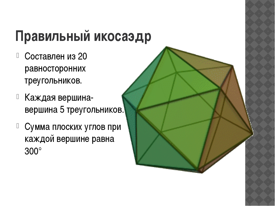 Правильный икосаэдр Составлен из 20 равносторонних треугольников. Каждая верш...