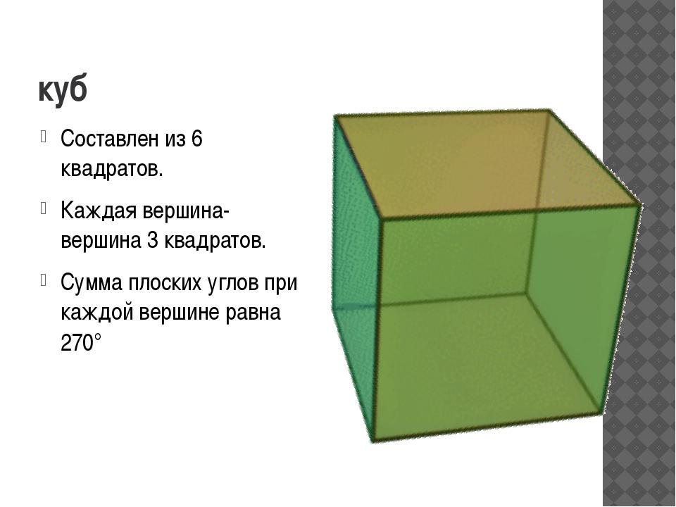 куб Составлен из 6 квадратов. Каждая вершина-вершина 3 квадратов. Сумма плоск...