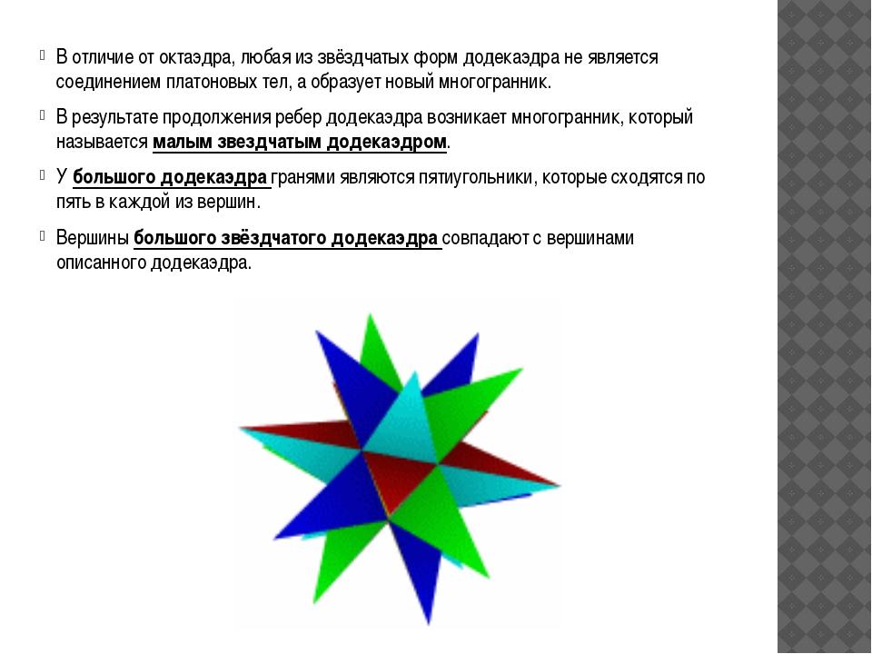 В отличие от октаэдра, любая из звёздчатых форм додекаэдра не является соедин...