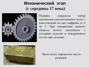 Механический этап (с середины 17 века) Машина содержала набор вертикально рас