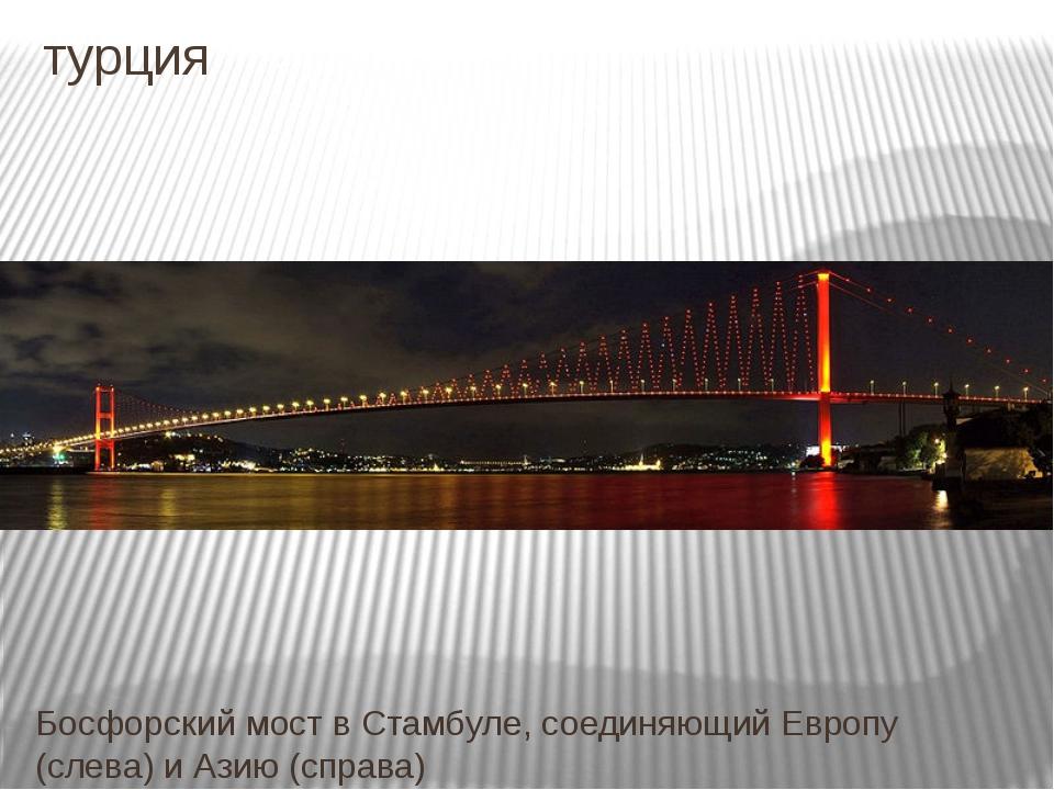 турция Босфорский мост в Стамбуле, соединяющий Европу (слева) и Азию (справа)
