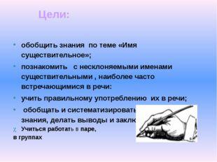обобщить знания по теме «Имя существительное»; познакомить с несклоняемыми и