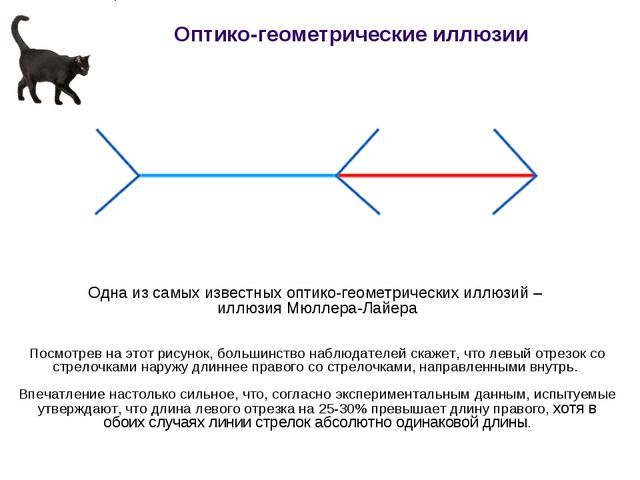 Одна из самых известных оптико-геометрических иллюзий – иллюзия Мюллера-Лайер...