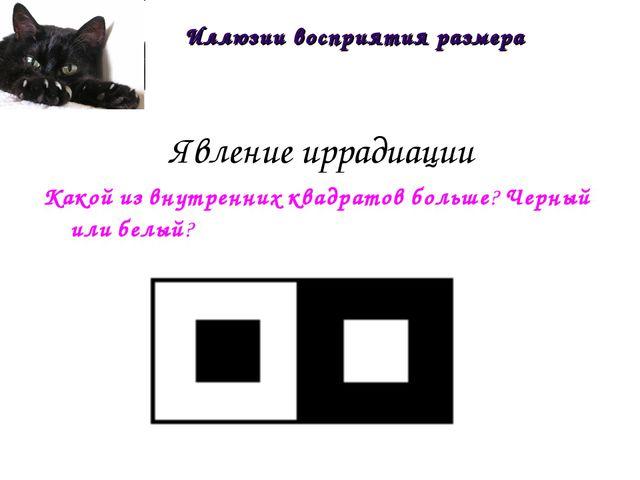 Явление иррадиации Какой из внутренних квадратов больше? Черный или белый? Ил...