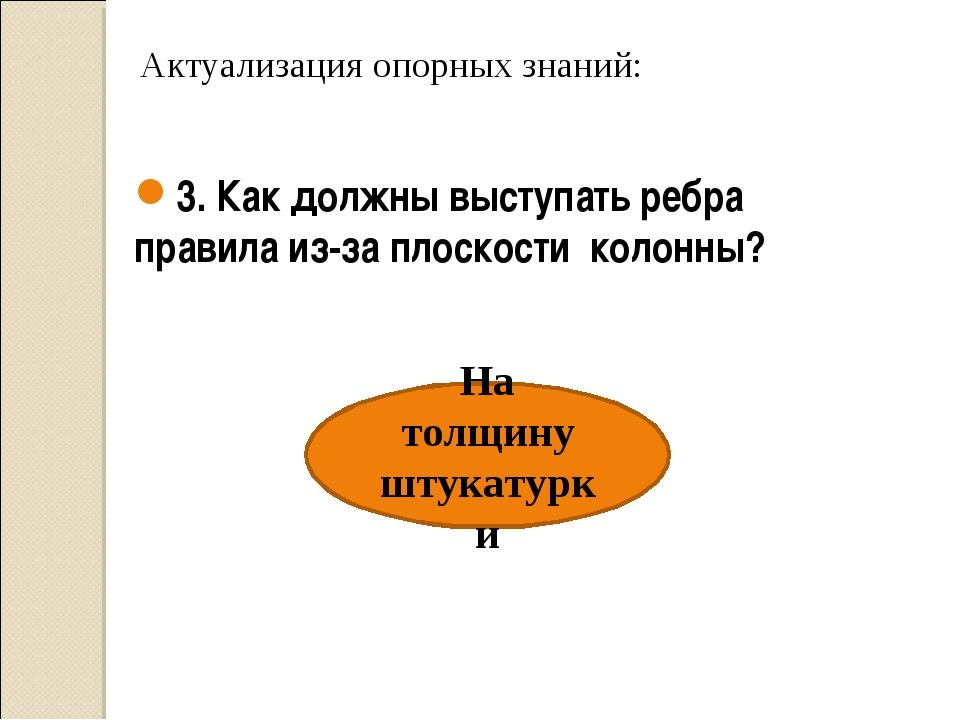 Актуализация опорных знаний: На толщину штукатурки 3. Как должны выступать р...