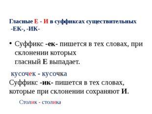Гласные Е - И в суффиксах существительных -ЕК-, -ИК- Суффикс-ек-пишется в т