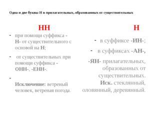 Одна и две буквы Н в прилагательных, образованных от существительных НН при п