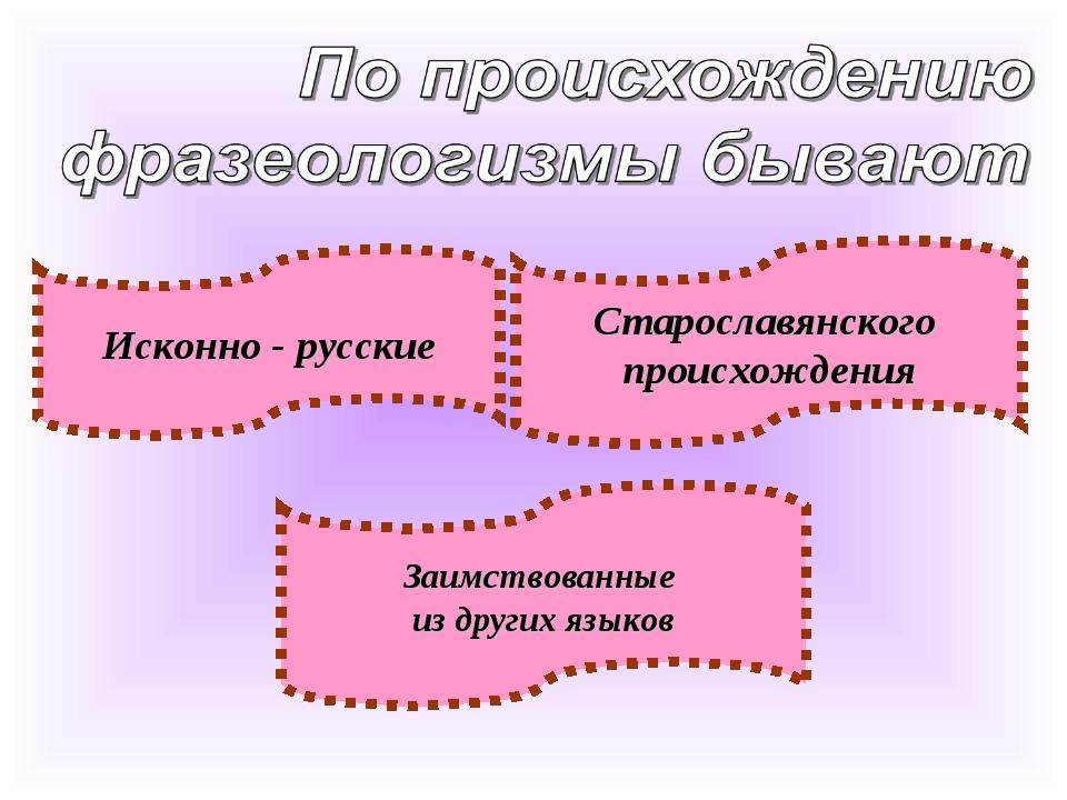 Заимствованные из других языков Старославянского происхождения Исконно - русс...