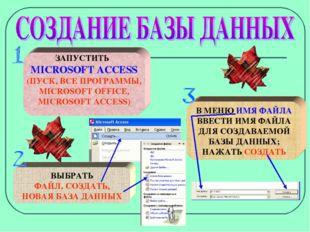 ЗАПУСТИТЬ MICROSOFT ACCESS (ПУСК, ВСЕ ПРОГРАММЫ, MICROSOFT OFFICE, MICROSOFT