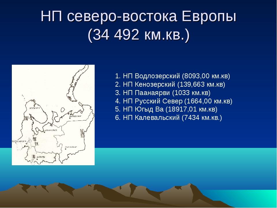 НП северо-востока Европы (34 492 км.кв.) 1. НП Водлозерский (8093,00 км.кв) 2...