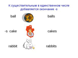 К существительным в единственном числе добавляется окончание -s ball balls -s