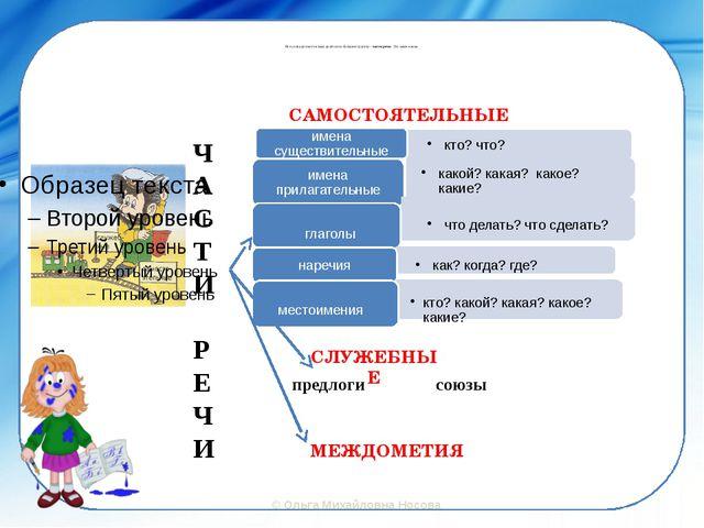 Все слова русского языка делятся на большие группы – части речи. Это закон я...