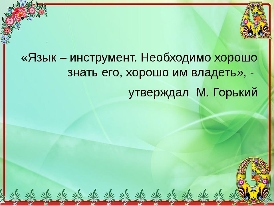 «Язык – инструмент. Необходимо хорошо знать его, хорошо им владеть», - утвер...