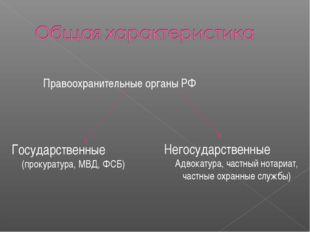 Правоохранительные органы РФ Негосударственные Адвокатура, частный нотариат,