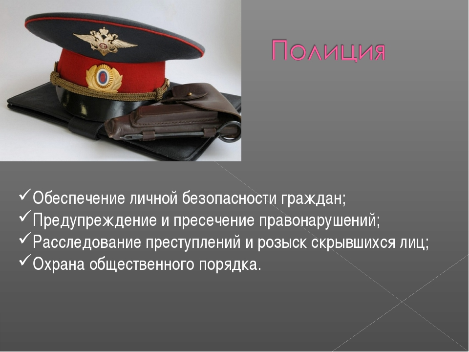 Обеспечение личной безопасности граждан; Предупреждение и пресечение правонар...