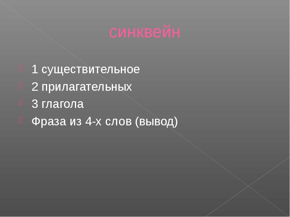 синквейн 1 существительное 2 прилагательных 3 глагола Фраза из 4-х слов (вывод)