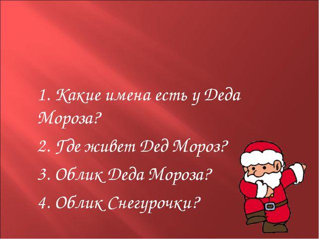 1. Какие имена есть у Деда Мороза? 2. Где живет Дед Мороз? 3. Облик Деда М...
