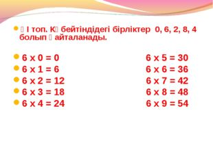 ҮІ топ. Көбейтіндідегі бірліктер 0, 6, 2, 8, 4 болып қайталанады. 6 х 0 = 0