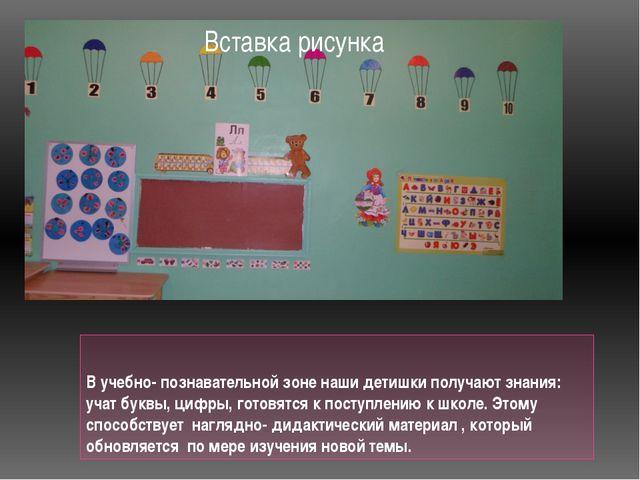 В учебно- познавательной зоне наши детишки получают знания: учат буквы, цифры...