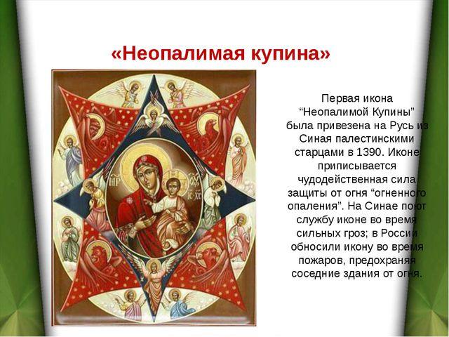 """Первая икона """"Неопалимой Купины"""" была привезена на Русь из Синая палестинским..."""