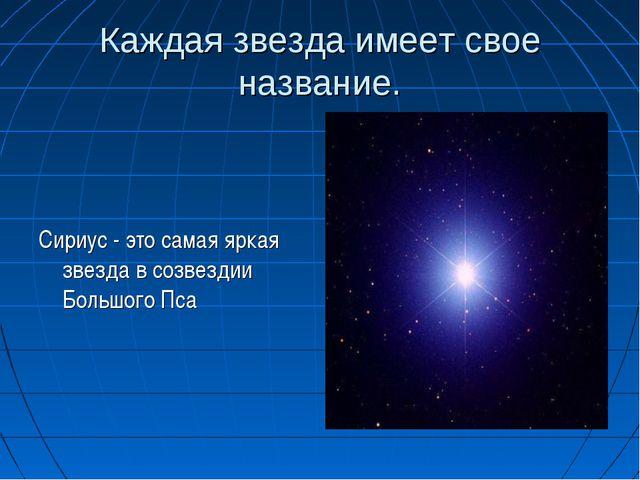 Каждая звезда имеет свое название. Сириус - это самая яркая звезда в созвезди...