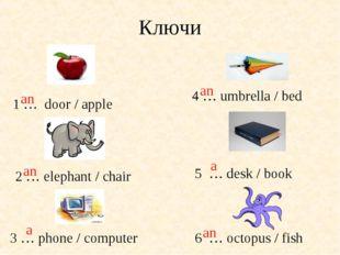 Ключи 1 … door / apple 3 … phone / computer 6 … octopus / fish 5 … desk / boo