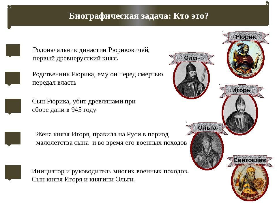 Задание: восстановите родословное древо династии Рюриковичей Рюрик Олег Игорь...