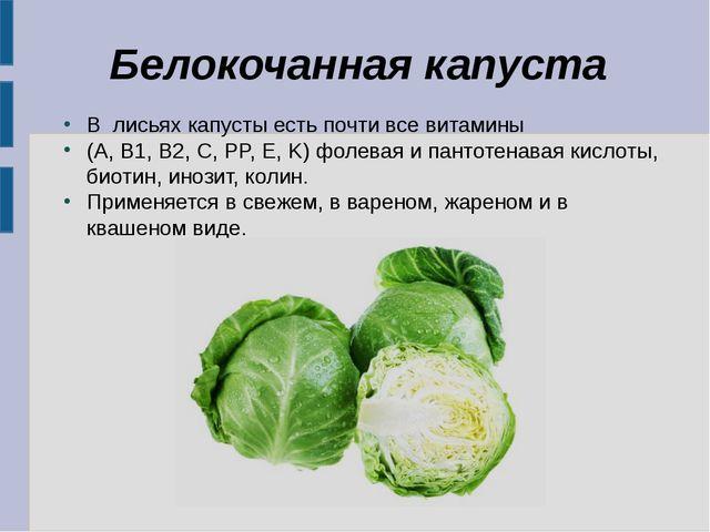 Белокочанная капуста В лисьях капусты есть почти все витамины (A, B1, B2, C,...