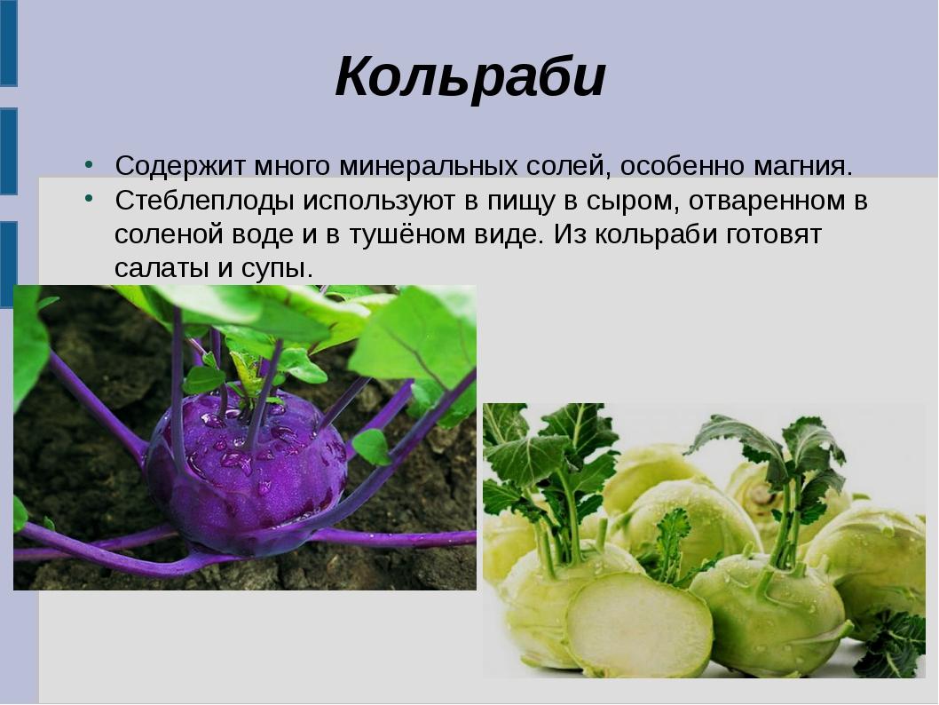 Кольраби Содержит много минеральных солей, особенно магния. Стеблеплоды испол...