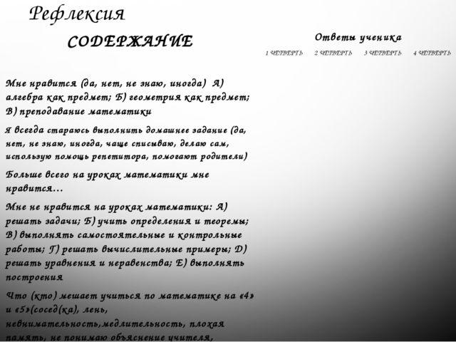 Рефлексия СОДЕРЖАНИЕ Ответы ученика 1 ЧЕТВЕРТЬ 2 ЧЕТВЕРТЬ 3 ЧЕТВЕРТЬ 4 ЧЕТВЕР...