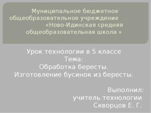 Муниципальное бюджетное общеобразовательное учреждение «Ново-Идинская средня