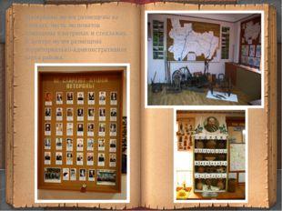Материалы музея размещены на стендах, часть экспонатов помещены в витринах и