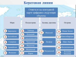 Отметьте на контурной карте цифрами следующие объекты 1 2 3 4 5 10 9 8 7 6 11