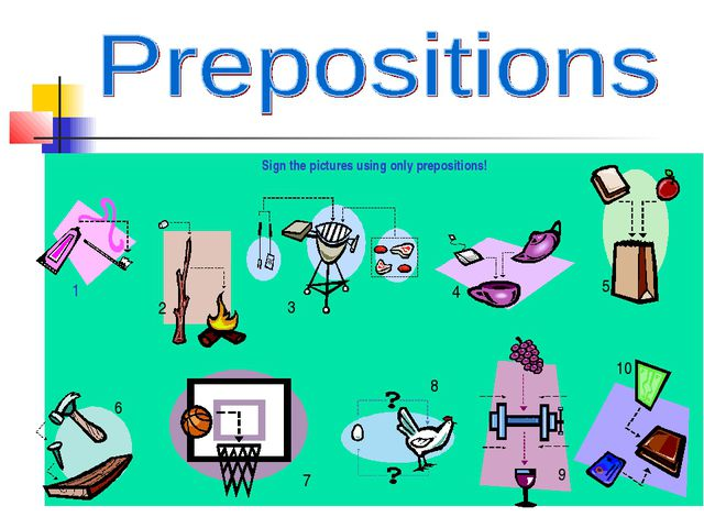 Sign the pictures using only prepositions! 1 2 3 4 5 6 7 8 9 10