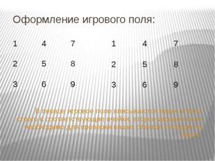 Оформление игрового поля: В первое игровое поле вписываются ваши ответы стро