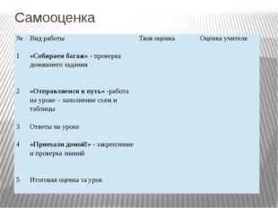 Самооценка № Вид работы Твоя оценка Оценка учителя 1 «Собираем багаж»- провер